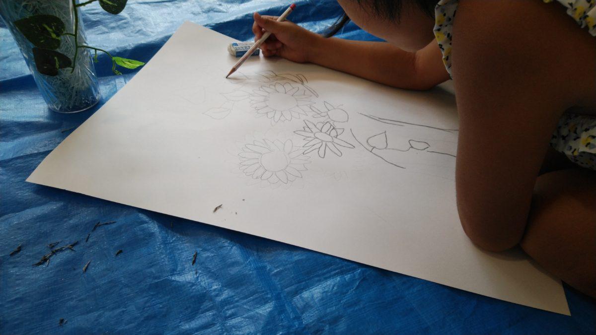 道の駅はが 夏休みワークショップ 絵画教室&竹細工教室